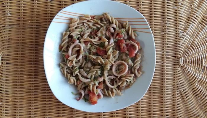 Pasta with veggies andsquid